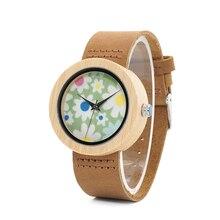 BOBO VOGEL Uhren Frauen Bambus Uhr Blumen Druck Damen Armbanduhren Echte Lederband relogio feminino B D18 4