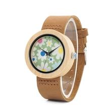 ボボ鳥腕時計女性竹花プリントレディース腕時計本革ストラップレロジオ feminino B D18 4