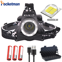 40000lm xhp70 headlight super bright led headlamp usb charging Head Torch lantern 3*18650 battery hunting camping z50