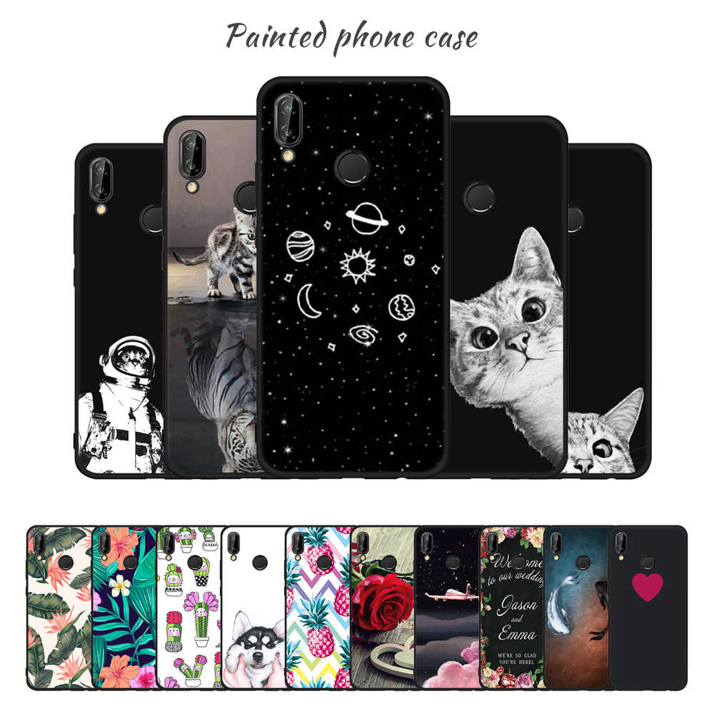 Silicone TPU Phone Case For Huawei P20 Pro P10 Moon Stars Painted Pattern Matte Cover For Huawei P20 P9 P8 Lite 2017 Capa