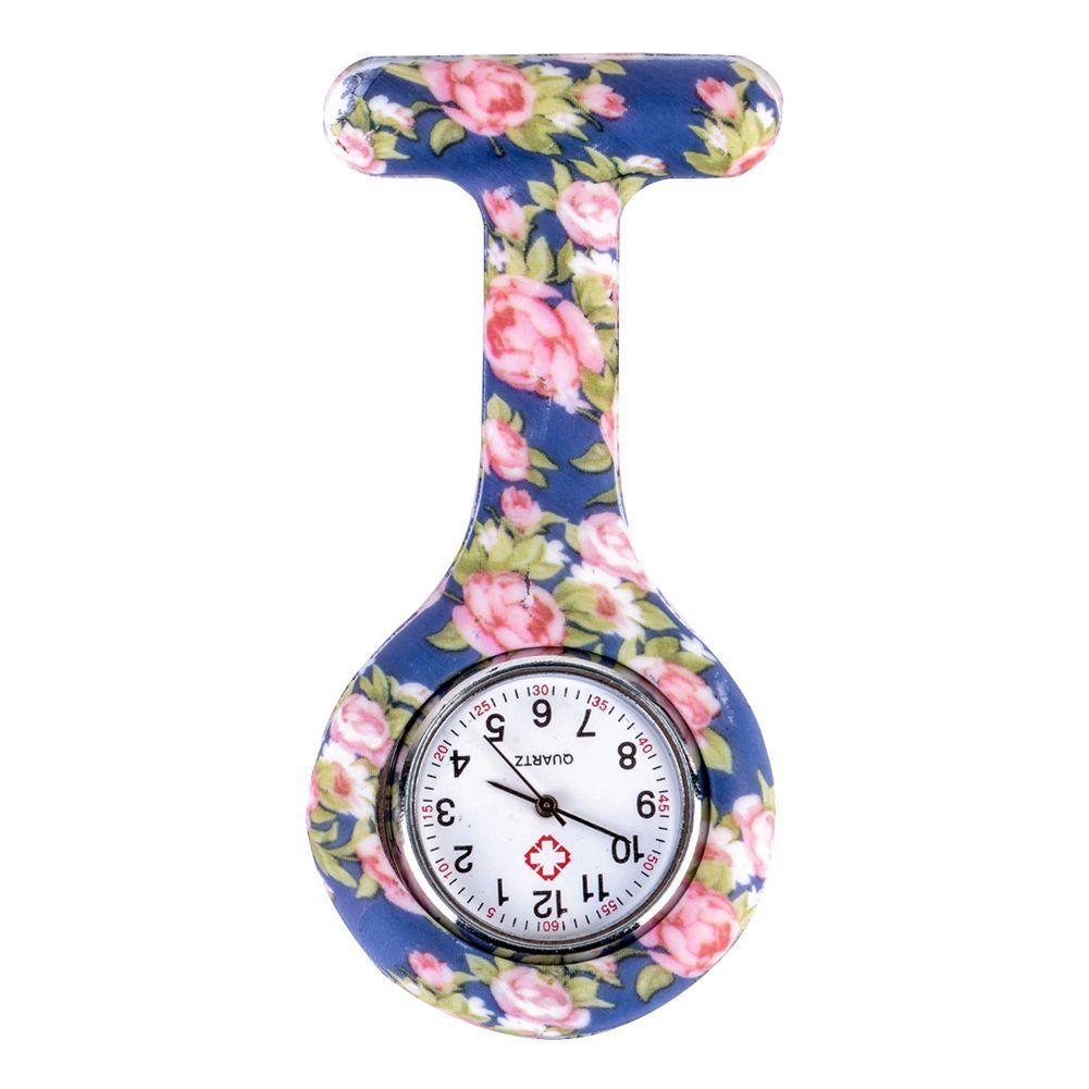 Blue Pink Peony Pattern Silicone Nurses Brooch Tunic Fob Pocket Watch Stainless Dial