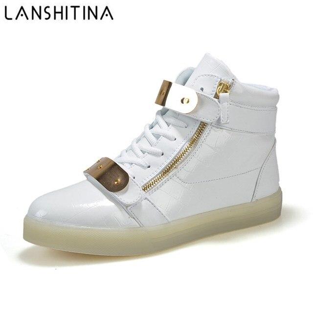 5ce63cb77769 2017 Hot Sale Men 8 Colors High Top LED Shoes for Adults White Black  Glowing Light Up Shoes Luminous Recharging Size 35-46