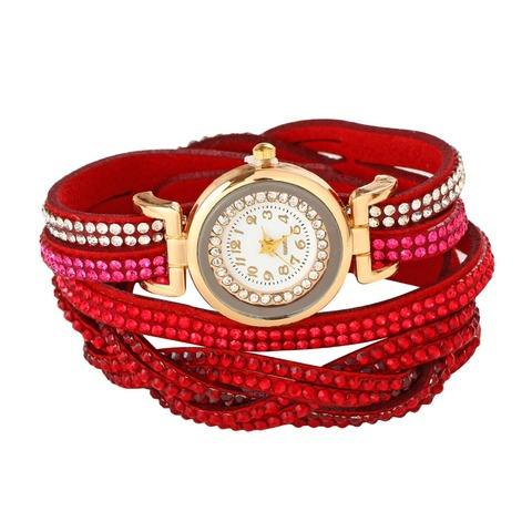 Women's Bracelet Watches Fashion Jewelry Watches Luxury Rhinestone Plated Leather Strap Multilayer Watches Women Multan