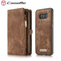 CaseMe Phone Case For Samsung Galaxy S8 S8 Plus Genuine Leather Zipper Multifunction Wallet 2 In1