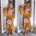 2016 Ucrania Boho Ropa Sexy Largo Elegante Vestidos Ropa Mujer chaleco lolita robe femme 2 unidades flor floral print dress Kleider
