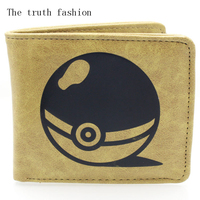 brown pokemon ball short cartoon man wallet popular japanese anime logo purse card holder kid cion purse wallets Kids Wallets