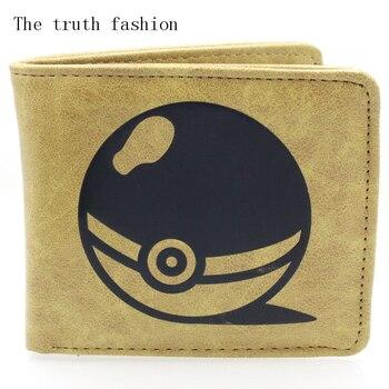 brown pokemon ball short cartoon man wallet popular japanese anime logo purse card holder kid cion purse wallets Kids Wallets