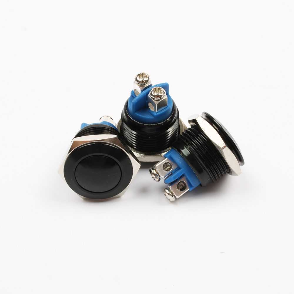 16mm Metal Oxidized Push Button Switch flat round 1NO reset press button screw terminal momentary red black blue Gold Green