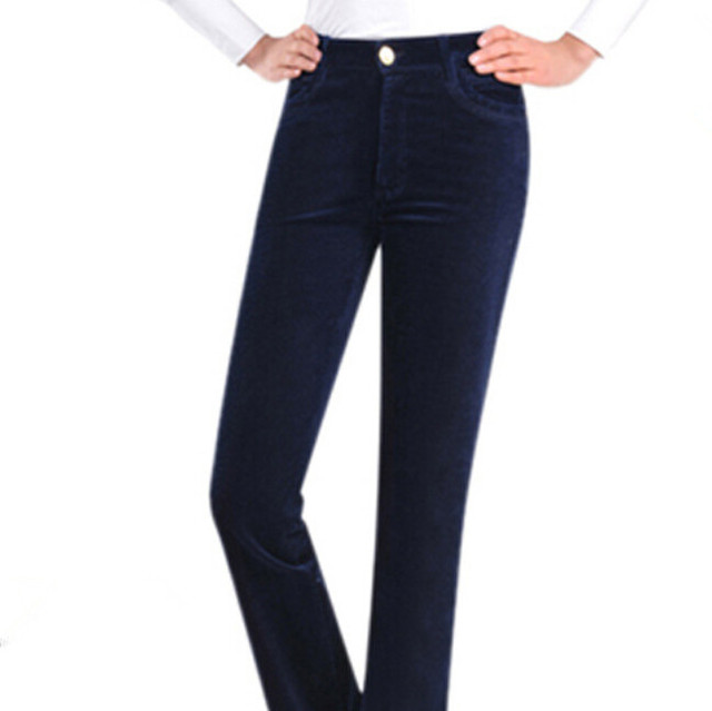 286d48408 Cintura alta boca de sino calças de veludo cotelê elásticas das mulheres  calças de veludo casuais
