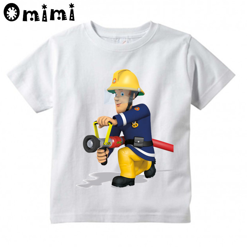 Kids Sam Fireman Firefighter Design T Shirt Boys/Girls Great Kawaii Short Sleeve Tops Children's Funny T-Shirt,ooo3062