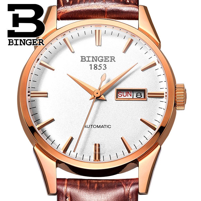 Switzerland men's watch luxury brand clock BINGER 18K gold Automatic self-wind full stainless steel waterproof  B1128-14 switzerland men s watch luxury brand wristwatches binger 18k gold automatic self wind full stainless steel waterproof b1128 6