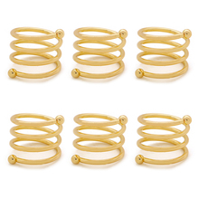 TAI Top 6Pcs/Set Gold Silver Color Spring Type Napkin Rings for Wedding Party Table Decor Alloy Napkin Holder Serviette Rings tai top 1 pc flower napkin rings gold silver crystal napkin holders napkin buckle for wedding dinner party table decoration