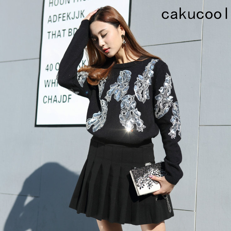 Cakucool New Women sequined Long Sleeve Sweaters O-neck Thick Jumper Shiny Embellish Beading Embroid Knit Pullover Sweater Lady women s sweater pullover 100% genuine goat cashmere women sweaters and pullovers knit round neck long sleeves thick sweaters