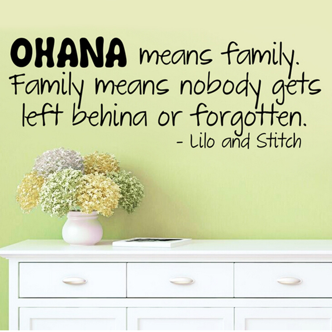 Wall Quote Decal Home Decor Sticker Ohana Means Family Lilo And ...