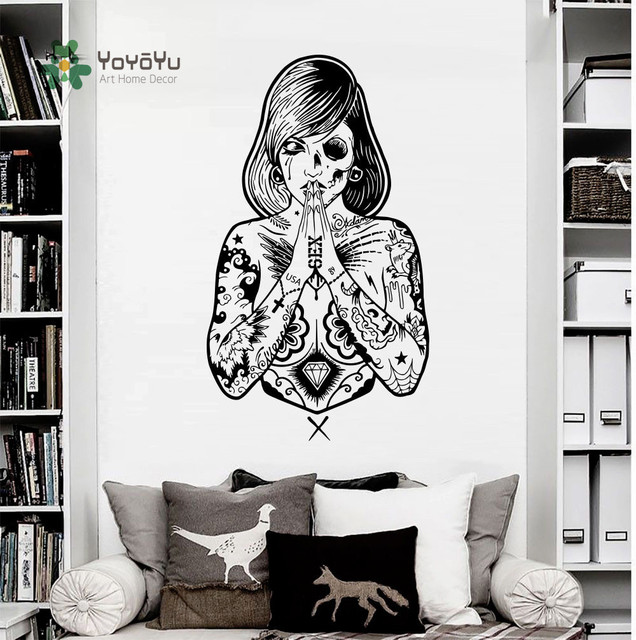 Yoyoyu wall decals girl tattoos fashion beauty vinyl sticker decor art high quality carving girls wall