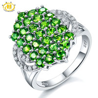 Hutang Solid 925 Sterling Silver 2 72ct Natural Chrome Diopside White Topaz Ring Women S Gemstone