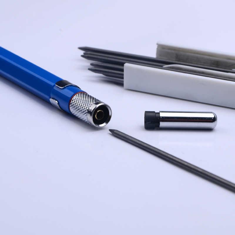 Lápices mecánicos de Metal 2,0mm 2B soporte de plomo dibujo conjunto de lápices con 12 piezas Leads escritura regalos escolares papelería