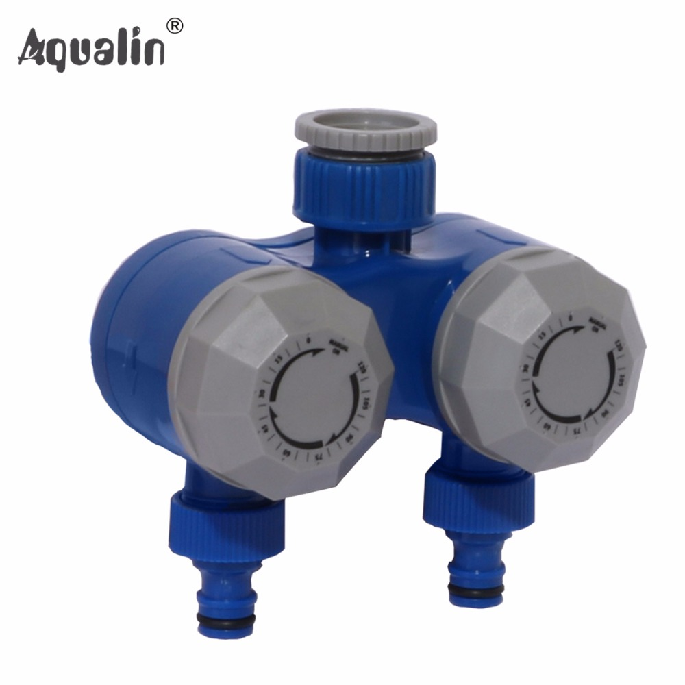 Two Outlet Mechanical Hose Faucet Dual Port Shutoff Mechanical Water Timer Garden Irrigation No Batteries Required #21102