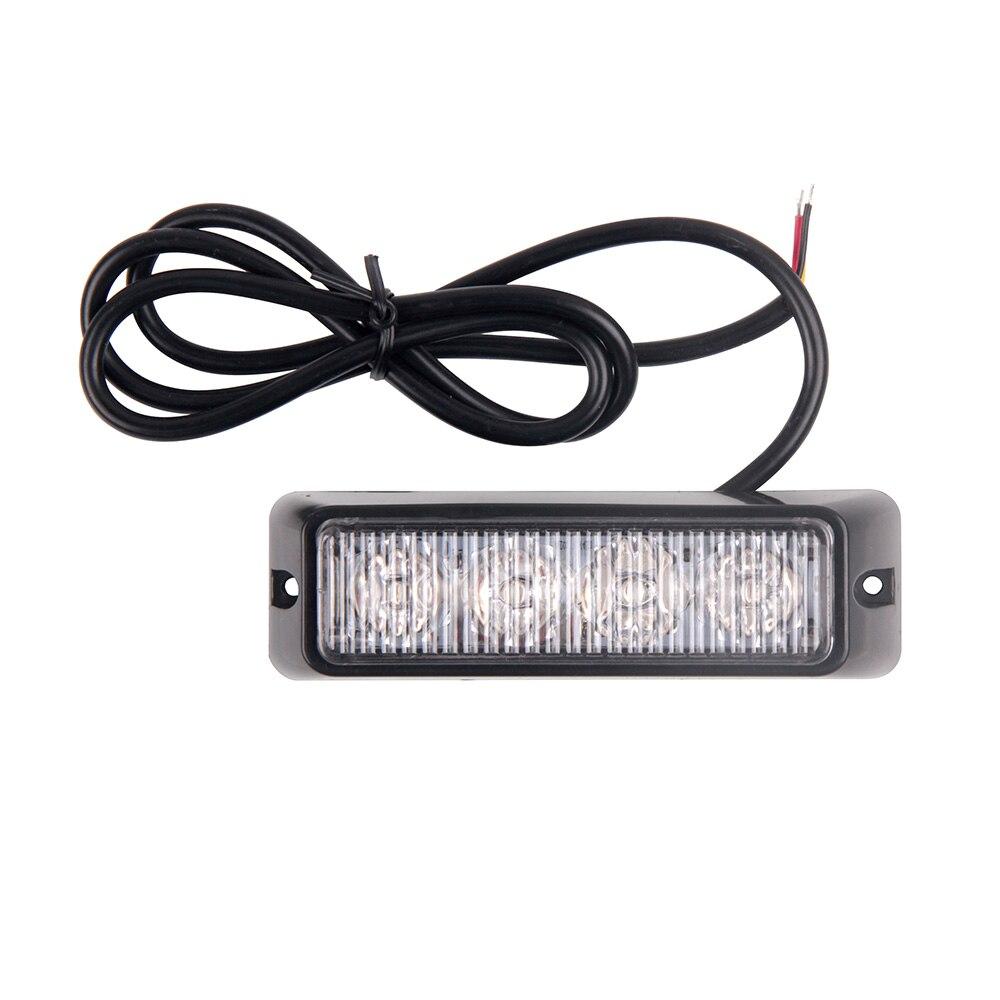4 LED Yellow Car Flash Truck Emergency Beacon Light Bar Hazard Side Strobe Warning