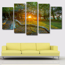SELFLESSLY 5 Panels/Set England Park Tree,Sun Picture Art Canvas Painting Posters Print On Canvas Wall Picture Home decor(China)