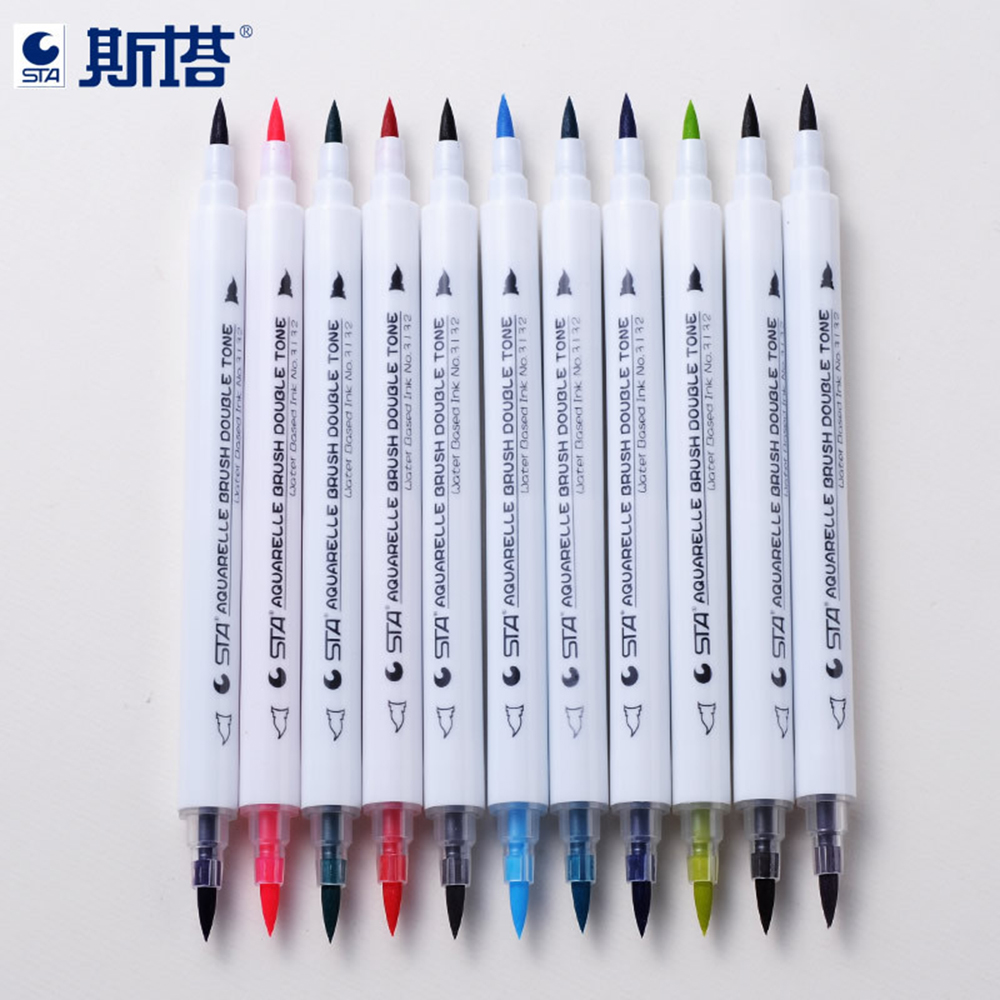 STA Gradient Water Soft Double head Color Mark Pen Comic Hand Painting Brush Set 28 Colors Marker Art Pens Sketch Drawing Pen w110145 soft head fine water mark pen 48 60 color beginners painting professional equipment advanced ink student art suit