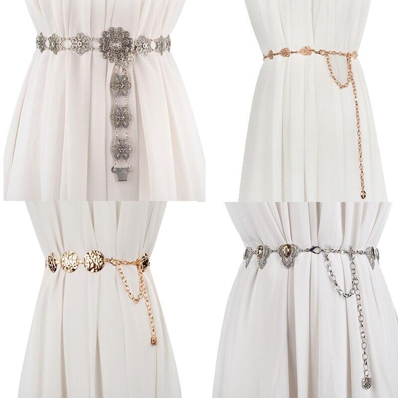 CETIRI Luxury Designer Metal Belt For Women Retro Punk Fringe Waist Belt Dress Ladies Brand Tassel Chain Belt Female Silver Gold
