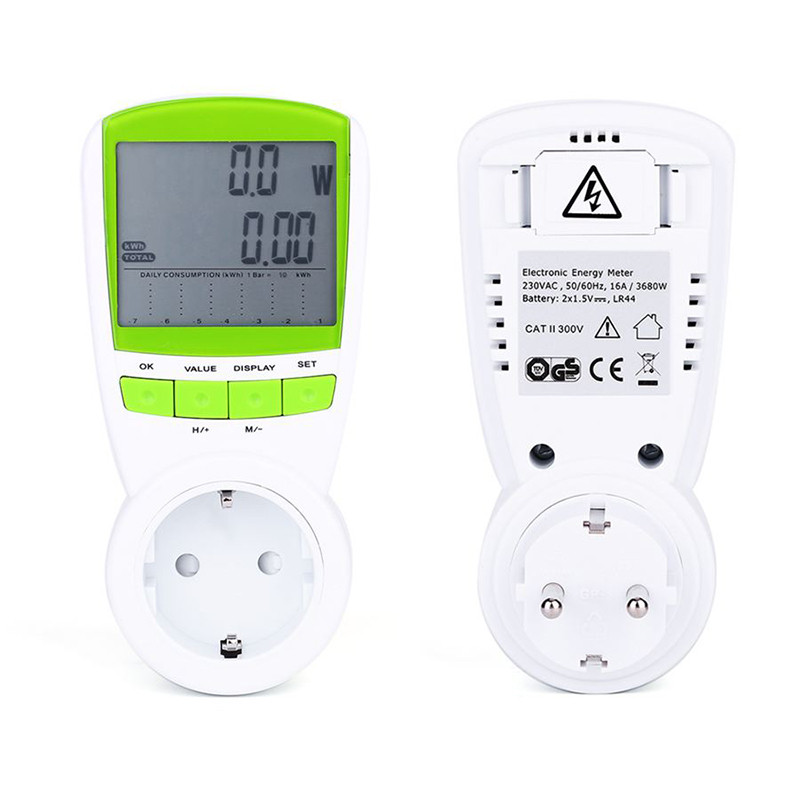 Profeshional Smart Voltage Electric Current Test TS-838 LCD Energy Meter Power Power Metering Socket Plug for Home Appliances