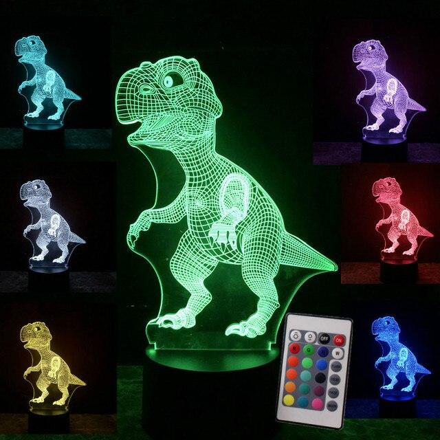 3D иллюзия динозавра Хэллоуин маска 7 цветов светодиодные сенсорные лампы украшения светильники в виде животных светится в темноте игрушки ...