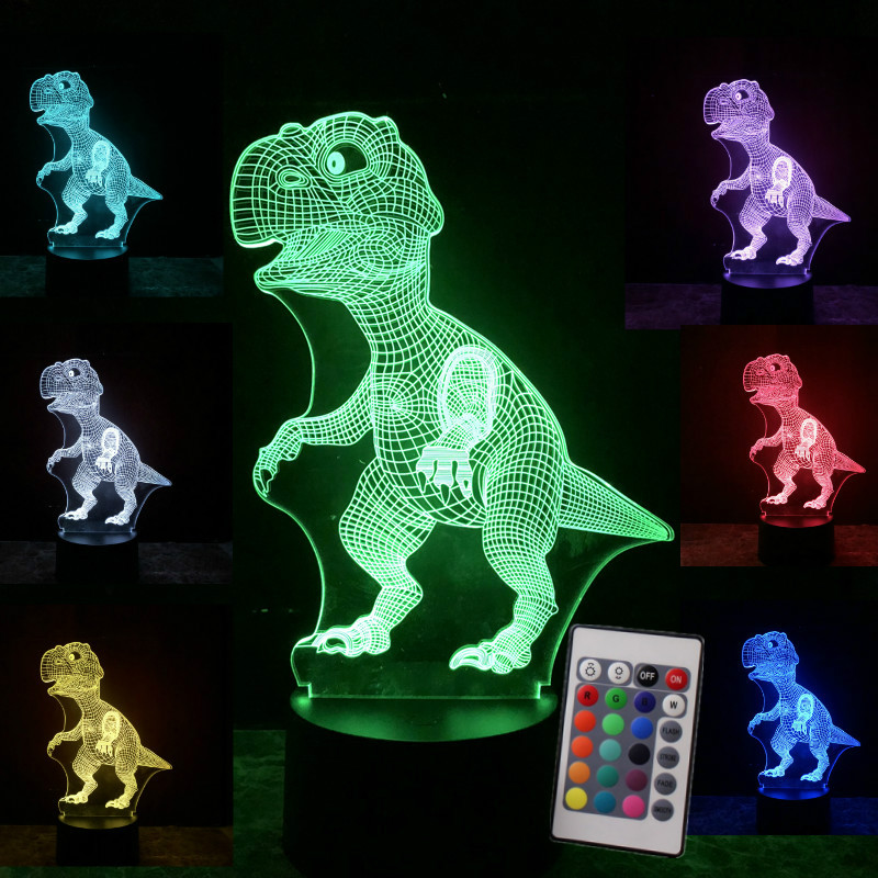 3D Illusion Dinosaur Halloween Mask 7 Color Led Touch Bulb Decoration Animal Light Up Glow In The Dark Toys Christmas Boys Gift glow in the dark saw skull head style mask transparent