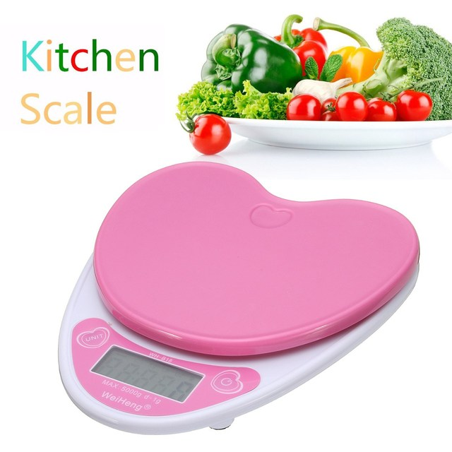 Pink Heart Digital LCD Electronic Kitchen Scale Diet Postal Food Weight  Scale Calorie Control Measuring Tools