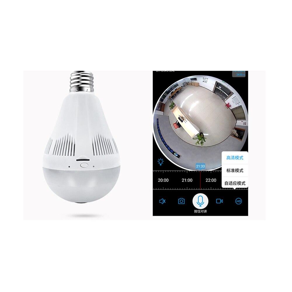 Bulb Light Wireless IP Camera Wifi Home Security 1.3MP 960P Fisheye 360 Degree Panoramic P2P Onvif Audio Surveillance Camera