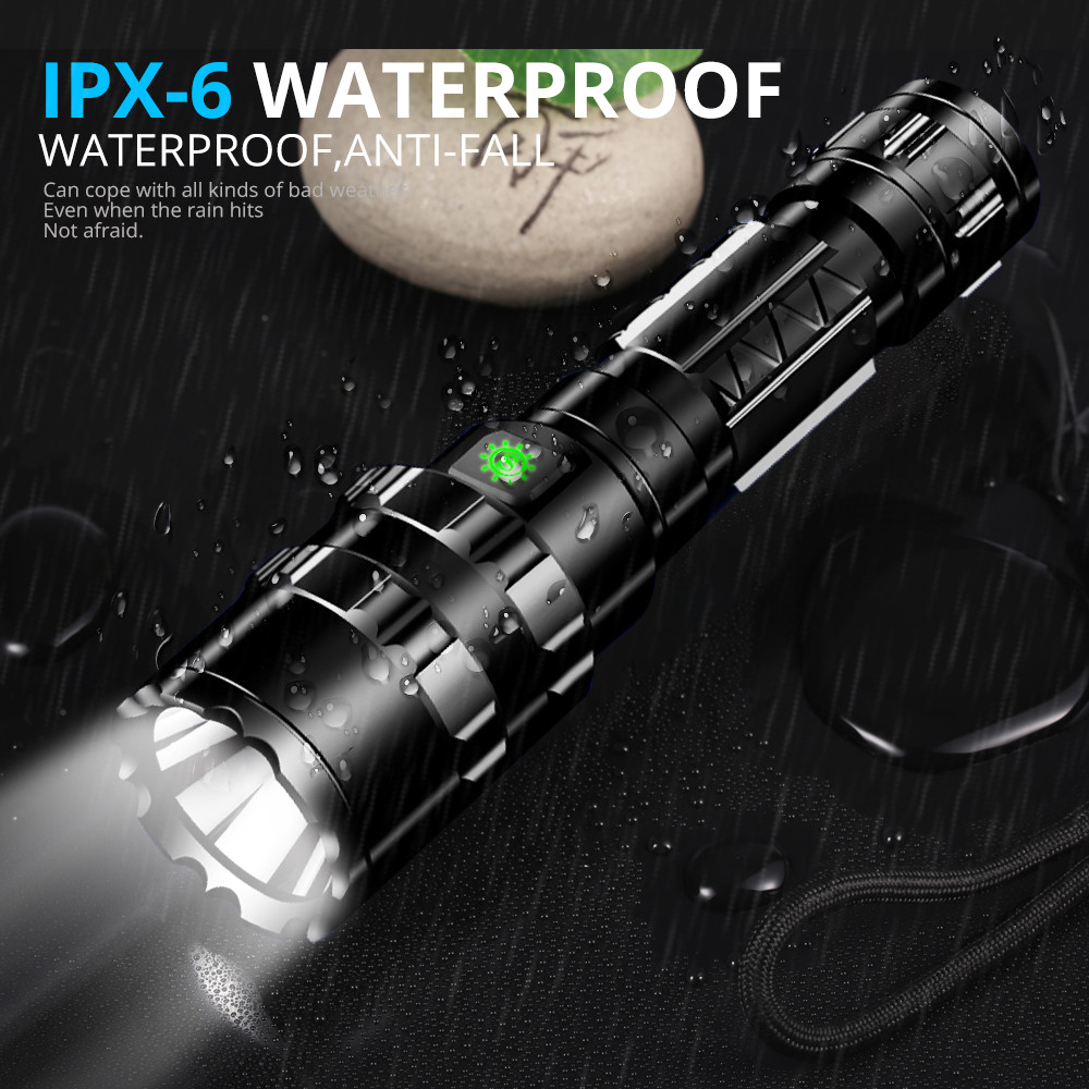 1102 10000Lums LED L2 Tactical Flashlight Super Bright USB Rechargeable Torch clip Hunting light Waterproof for 18650 battery in Flashlights Torches from Lights Lighting