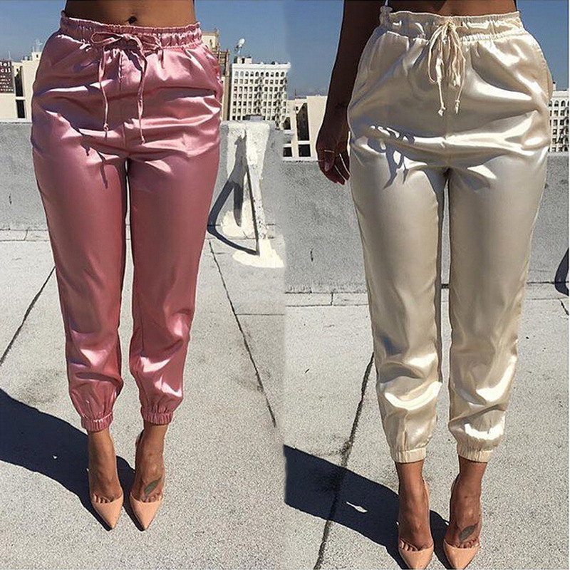 Elastic High Waist Pants Women Brand Jogger Sweatpants Satin Fashion Pink Pencil Pants Streewear Fitness Trousers Pantalon Femme