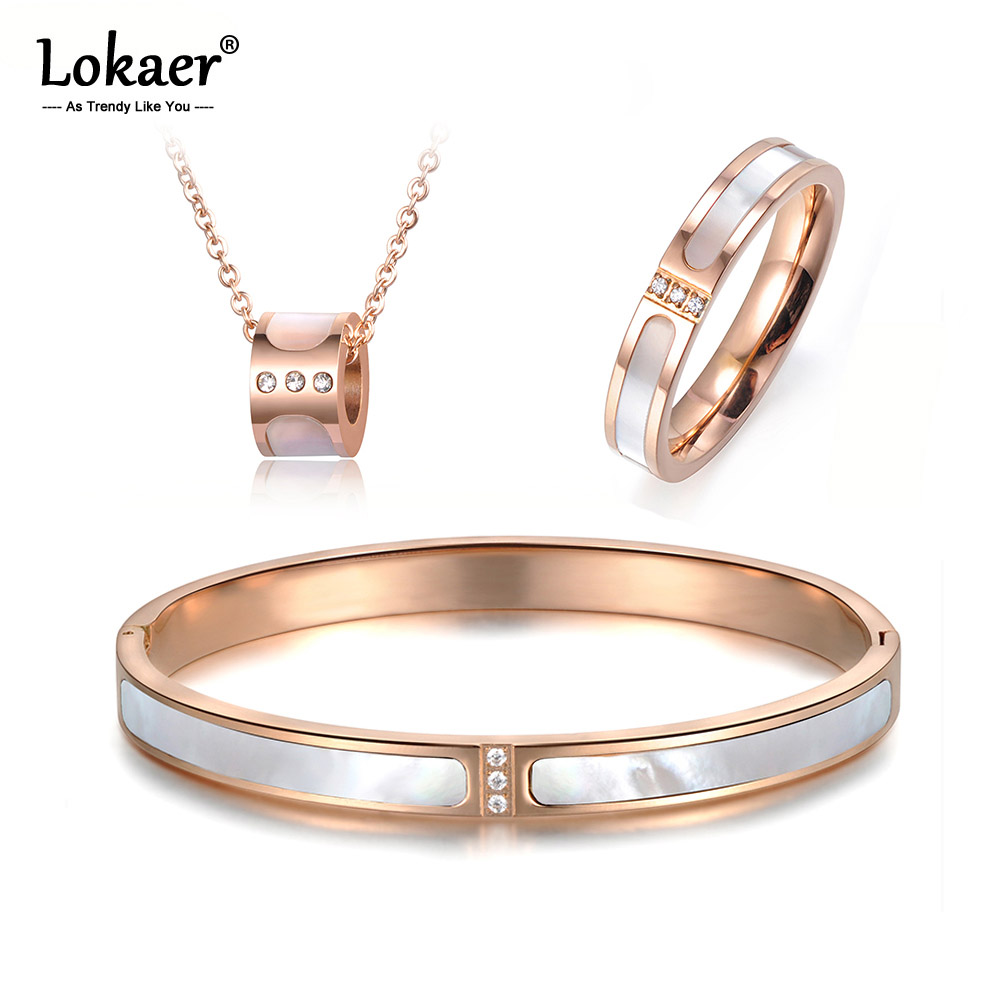 Lokaer Jewelry Bangles Necklace-Rings Steel Shell Bridal-Sets Wedding-Bands Crystal Women
