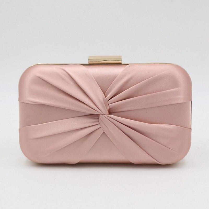 Fashion Handmade Bow Clutches Bag For Women Pink Black Silvery Clutch Evening Bag Bride Wedding Bags Party Handbag Female Purse
