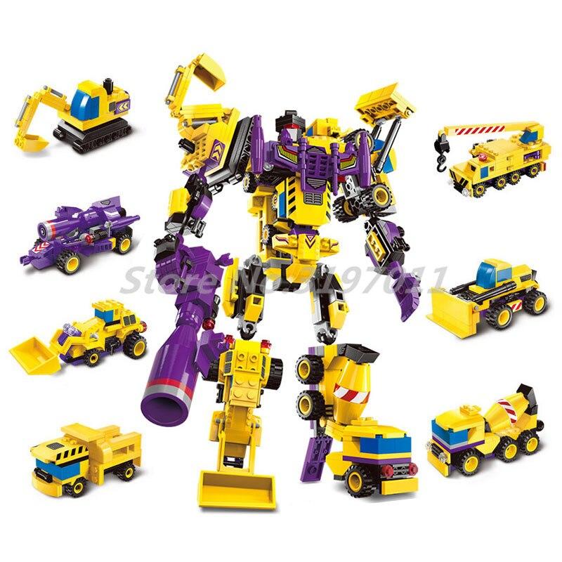 Robot 7in1 Building Blocks Creator God of War Fight Enlighten 1401 Transformer Truck Hero Destroyer Ares Cars Toys For Children