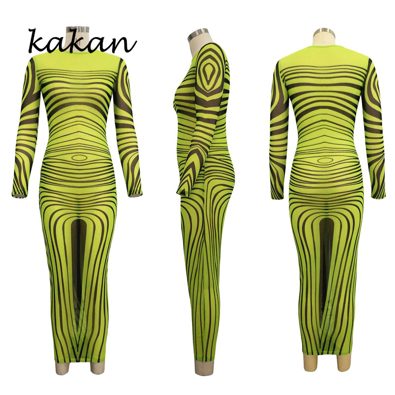 Kakan best selling women 39 s print dress sexy fashion nightclub super elastic mesh dress green rose red blue dress in Dresses from Women 39 s Clothing