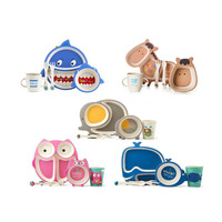 Cartoon baby feeding dishes set COECO Bamboo fiber Health environmental children tableware sets 5pcs/set Oversea