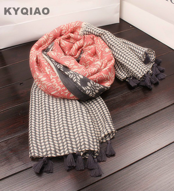 KYQIAO Mori girls winter Japanese style elegant ethnic long red pink orange grey print patchwork scarf 2018 designer hijab scarf