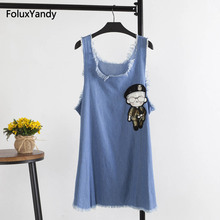 все цены на Sleeveless Denim Dress Women Casual Tassel Cartoon Plus Size Summer Tank Dress Blue Mini Vestidos KCKK1252 онлайн
