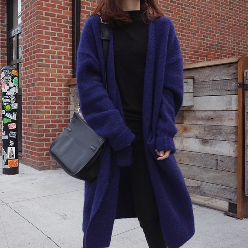 Milinsus Winter Woman Oversized Long Coats 2019 New Korean Loose Pocket Women's Sweater Blue Warm Simple Cardigan Outfit