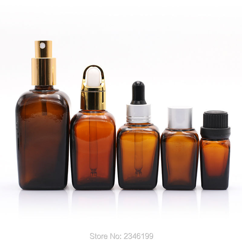 10ML30pcs/lot Square Empty Cosmetic Essential Oil Bottle,Brown DIY Glass Facil Makeup Tool,Cosmetic Dropper Bottle, Spray Bottle