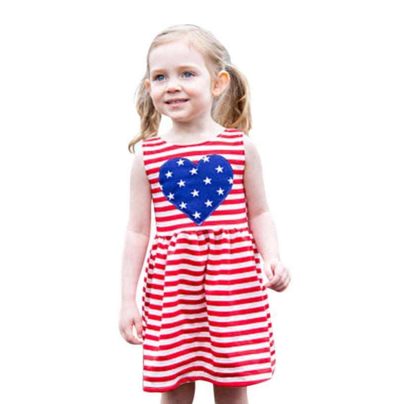 Baby Girls Infant Kids 4th Of July Star Dress Clothes Sundress Casual Dresses girls summer dress kids chothing