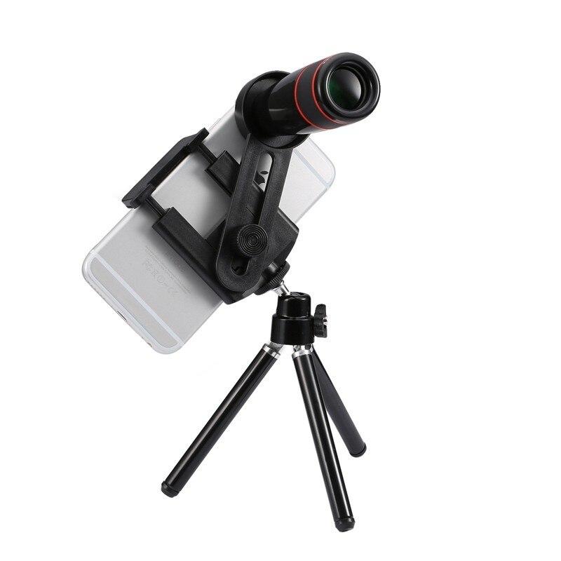 imágenes para 12X de Zoom de la Lente Teleobjetivo de la Cámara Kit de Lentes de teléfono + Sostenedor Del Trípode + de Control de Bluetooth Lente del telescopio ForiPhone 4 5 5C 5S SE 6 6 S 7