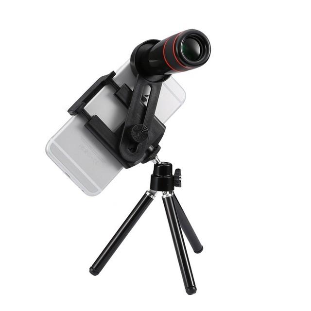 Kit de lentes da câmera do telefone 12x zoom telefoto lente do telescópio lente + tripé + suporte de controle bluetooth para iphone 6 s 7 samsung xiaomi