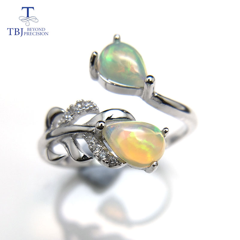 TBJ,Feather gemstone Ring with natural ethopian opal good fire in 925 sterling silver fine jewelry for girls with jewelry box tbj delicate small ring with natural good color blue tanzanite gemstone lady ring in 925 sterling silver fine jewelry for women