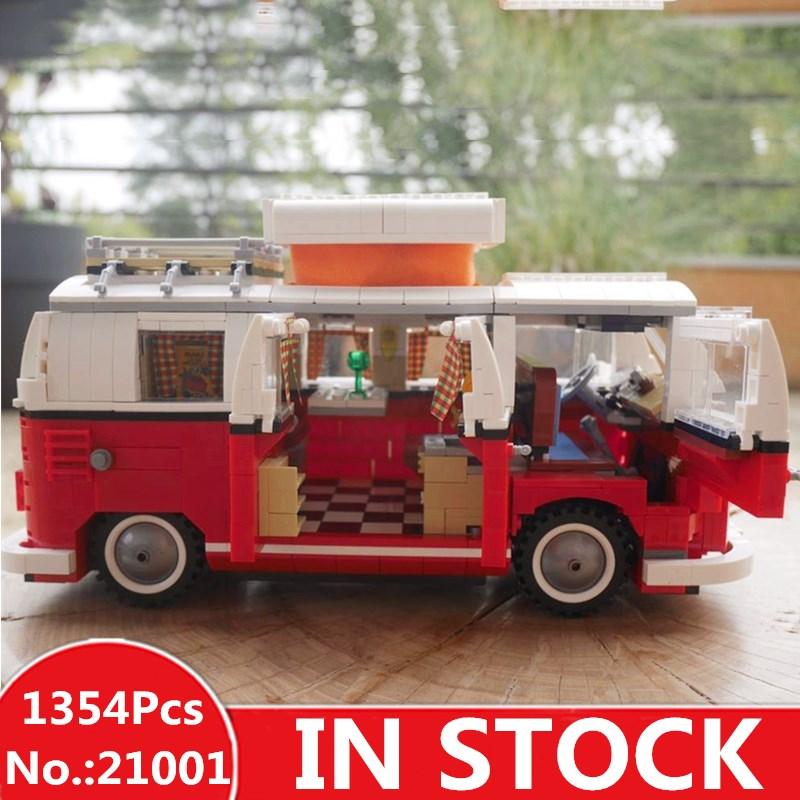 H&HXY 21001 1354Pcs 21046 1450Pcs Volkswagen T1 Camper Van LEPIN car Model Building Kits Bricks Toys Compatible 10220 10262 in stock volkswagen t1 camper van model building kits bricks toys compatible compatible legoinglys10220