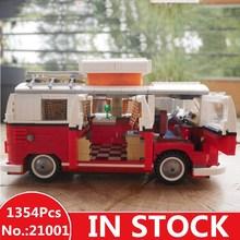 IN STOCK H HXY 21001 1354Pcs T1 Camper Van LEPIN car Model Building Kits Bricks Toys