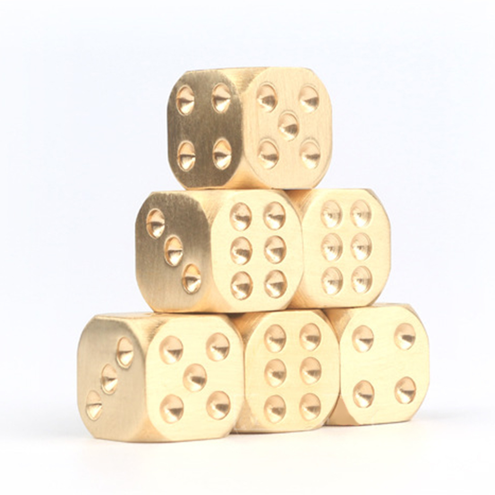 Golden Pure Color Dices Copper Polyhedral Metal Solid Heavy Dice Playing Game Tool 13X13X13mm 15X15X15mm