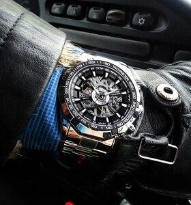 Image 3 - Forsining reloj deportivo informal para hombre, resistente al agua, de acero inoxidable y plata 2017, militar, Reloj de pulsera mecánico